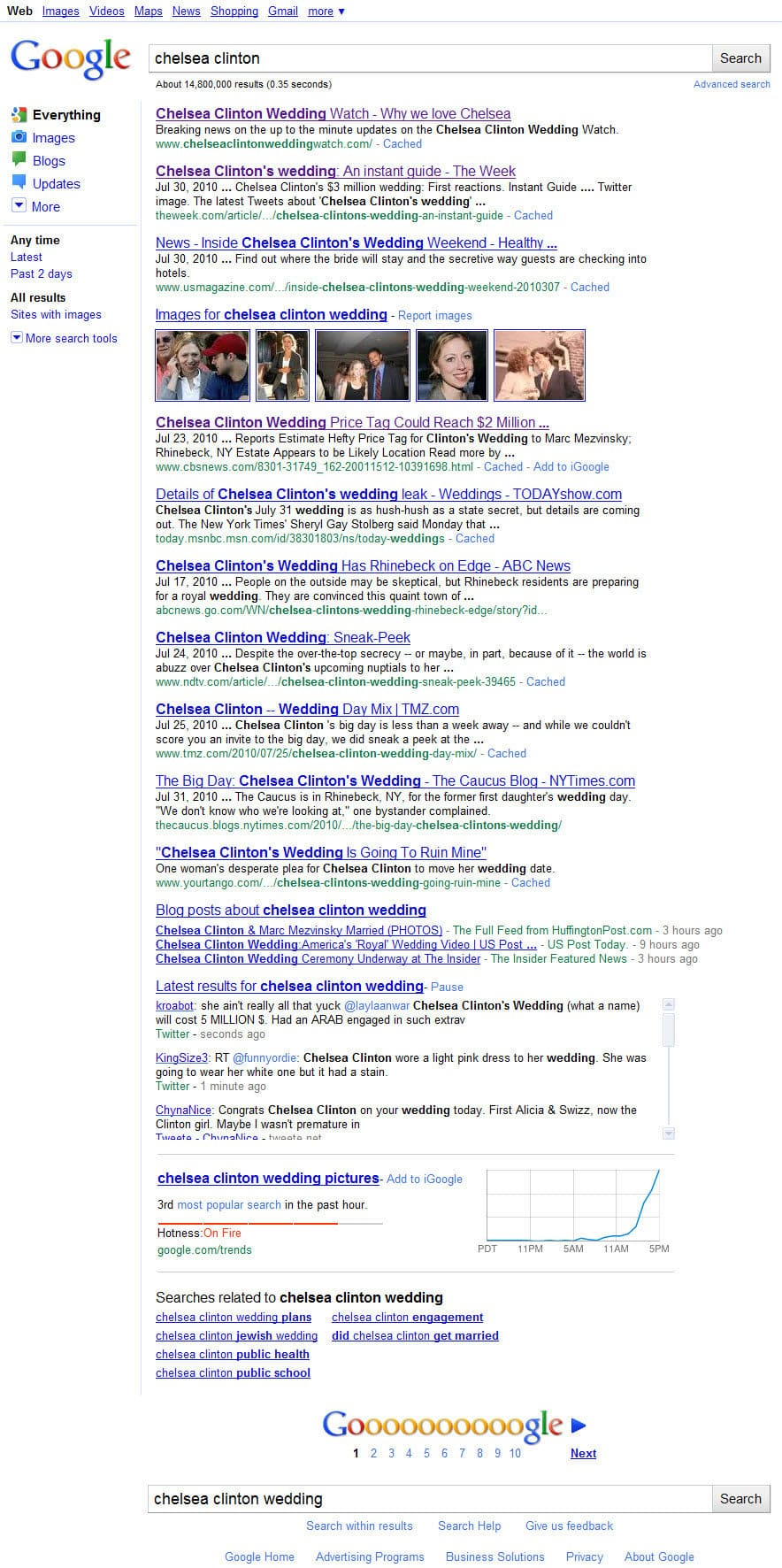 SEO by Glen Woodfin Pushes ChelseaClintonWeddingWatch com to Number 1 on a Google Search for Chelsea Clinton