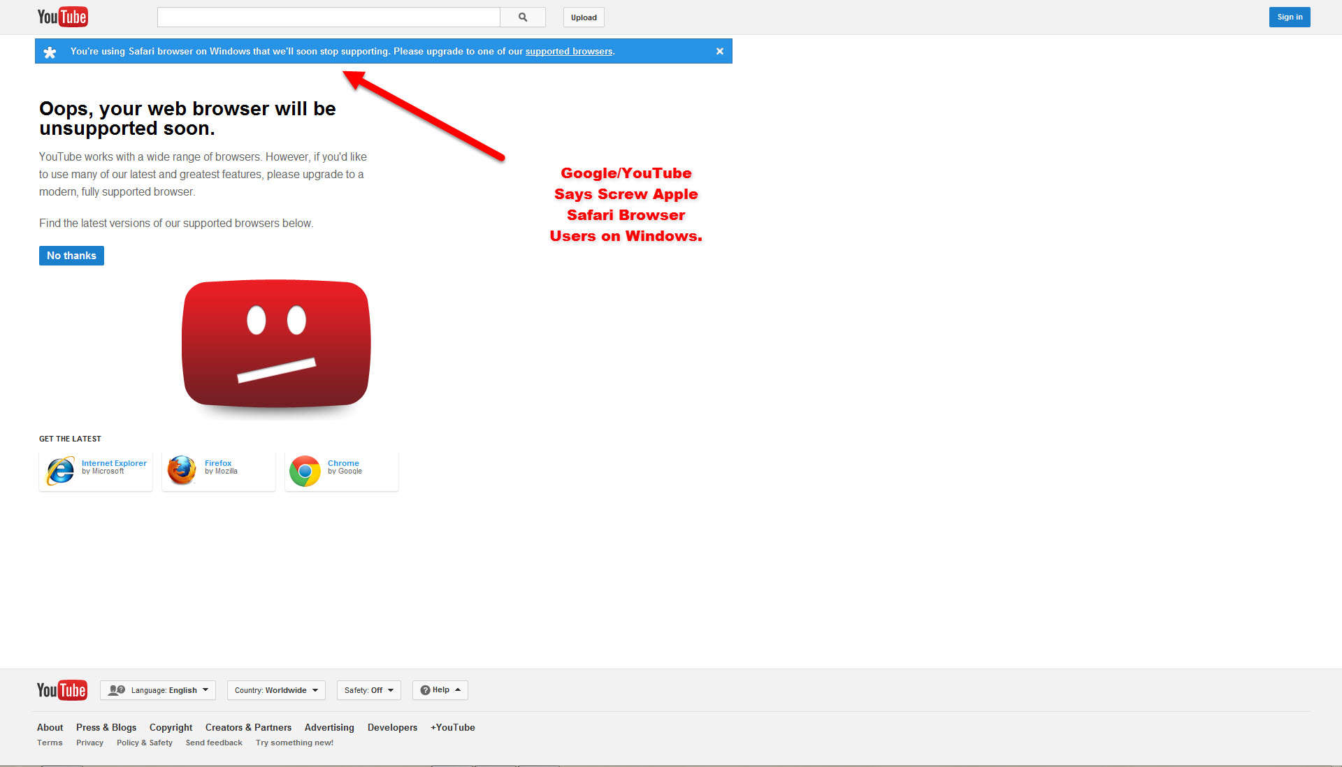 Google and YouTube Stops Supporting Windows Safari Browsers
